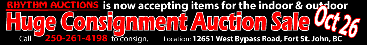Indoor And Outdoor Consignment Auction Fort St. John, BC - Oct 26, 2019